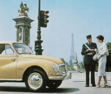 Mademoiselle is given directions to the Tour d'Argent as she returns to her DKW 1000 just North of Pont Alexandre III, 8th arrondissement, Paris