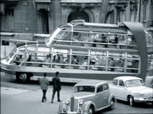 "Citroën U55 Currus Cityrama behind a Mercedes 170 V and a Panhard Dyna Z in the 1960 film ""Zanzie dans le Métro"""