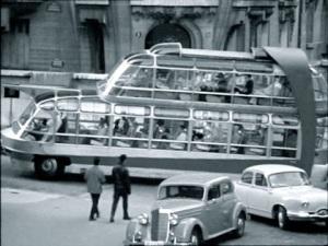 """Citroën U55 Currus Cityrama behind a Mercedes 170 V and a Panhard Dyna Z in the 1960 film """"Zanzie dans le Métro"""""""