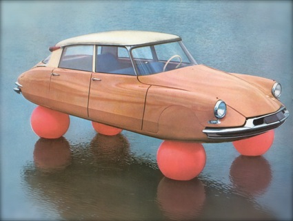 1955 Publicity photo for the new Citroën DS heralding the first-ever use of air suspension in a production automobile