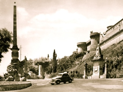 A Fiat 500 Topolino on the Viale dei Ponti. Commune of Volterra, Tuscany