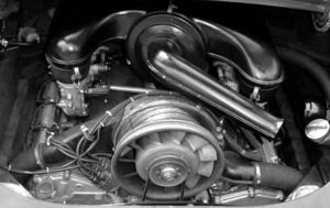 Early Porsche 911 Engine with Dual Triple-Throat Weber Carburetors