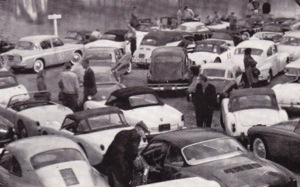 Drivers and Navigators prepare to embark on the Bella Vista Rally, 1962