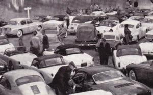 Drivers and Navigators prepare to embark on the Bella Vista Rally, 1962