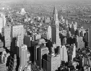 View of Midtown Manhattan from the Empire State Building to the Chrysler Building and Queensboro Bridgeand