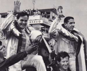 Udo Schütz and Joe Buzzetta receive the victory laurels, Nürburgring 1967