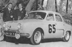 Guy Monraisse and Jacques Feret with their Dauphine Gordini savoring their victory in the 1958 Rallye Monte-Carlo