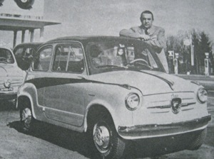 Carlo Abarth poses alongside his Fiat Derivazione Abarth 750