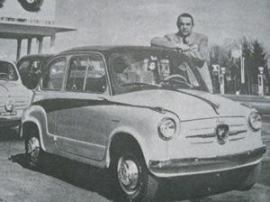 Carlo Abarth poses alongside his Fiat Derivazione Abarth 750