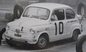 Fiat Abarth 850TC with under-bumper auxiliary coolant radiator and fully raised engine lid