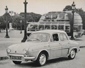Renault Dauphine Gordini in Paris; 1963. Regular readers of Auto Universum will of course recognize the vehicle in the background as a Citroën U55 Currus Cityrama