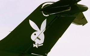 Iconic Playboy logo adorning the tail of Hugh Hefner's bespoke Douglas DC-9