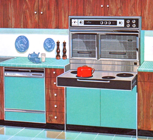 A Custom Imperial Flair from a 1965 General Motors brochure highlighting non-automotive GM products from appliances to heavy trucks, earthmoving equipment and locomotives. Nothing says early-to-mid-sixties quite as succinctly as turquoise and walnut.