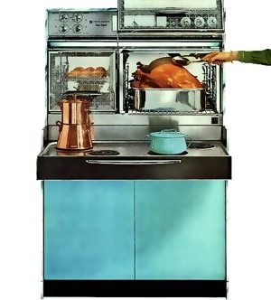 Frigidaire Custom Imperial Flair with right-side oven door in the open position. The Turquoise shown above and Coppertone were the two most popular colours for U.S. appliances in the 1960s. On the cooktop is a matching turquoise Kobenstyle casserole by Jens Quistgaard for Dansk; designed in 1956, it remains in production today.