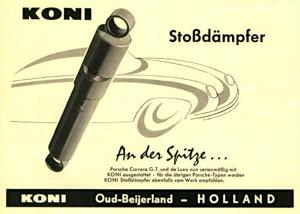 1950s Koni advertisement heralding their inclusion on the new Porsche 356 Carrera GT