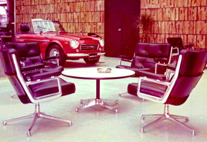 Nissan showroom with Datsun SR311 Fairlady 2000 and a quartet of Eames Time-Life Chairs, Tokyo, 1969