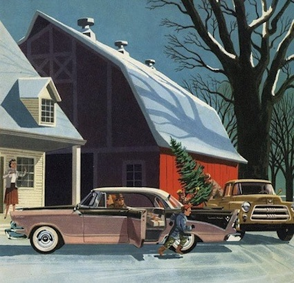 A Christmas tree is delivered as a family arrives home in their 1956 Dodge Custom Royal Lancer.