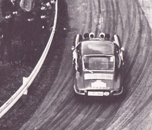 PIC 911S of Vic Elford and David Stone drifts up the Frieberg Hillclimb stage during the Stuttgart-Lyon-Charbonnieres Rally, 1967. Julius Weitmann photo.