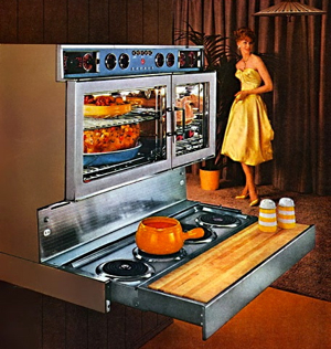 Jet age design the tappan fabulous 400 and frigidaire for Eye level oven kitchen designs