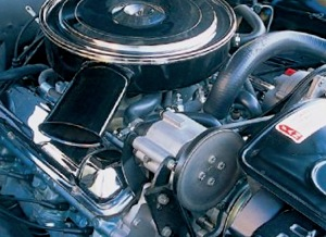 1966 California-Spec Pontiac GTO with belt-driven air pump. The majority of cars used pumps like this one to channel oxygen into the exhaust ports, oxidizing unspent fuel to help meet the state's new emission regulations.