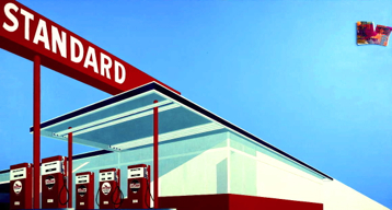 Standard Station with 10-Cent Western Being Torn in Half, Ed Ruscha, 1964. Modern Art Museum of Fort Worth collection