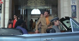 The first and only appearance of George Lazenby as James Bond. Here he is being escorted into the rear compartment of the Silver Shadow Drophead Coupé